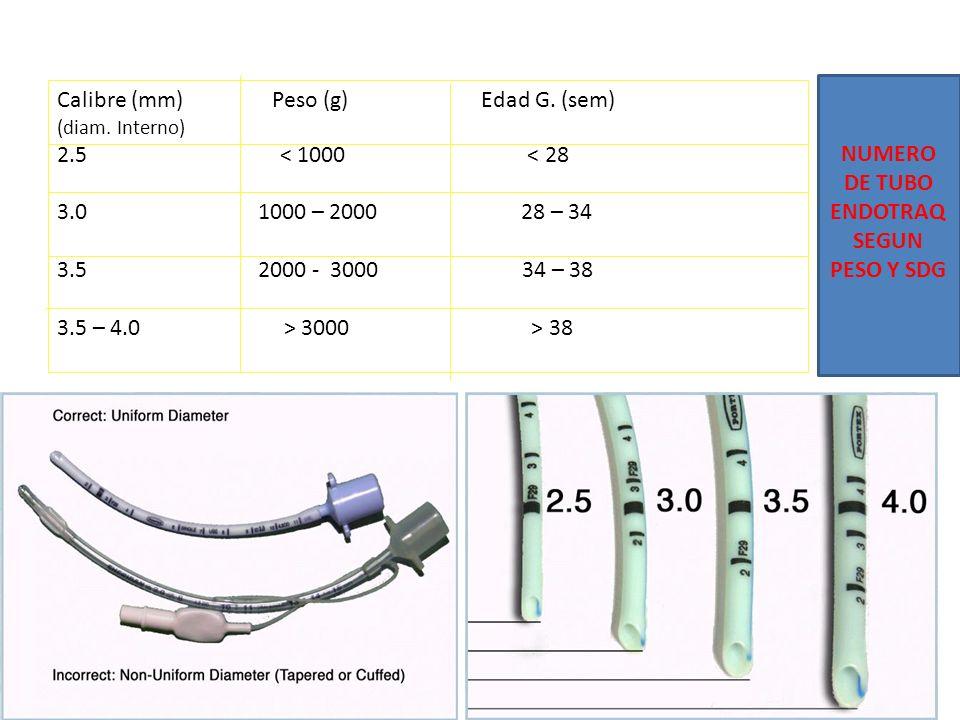 Calibre (mm) Peso (g) Edad G. (sem) (diam. Interno) 2.5 < 1000 < 28 3.0 1000 – 2000 28 – 34 3.5 2000 - 3000 34 – 38 3.5 – 4.0 > 3000 > 38 NUMERO DE TU