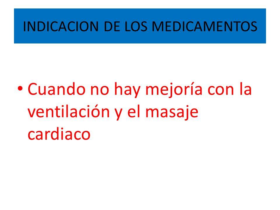 INDICACION DE LOS MEDICAMENTOS Cuando no hay mejoría con la ventilación y el masaje cardiaco