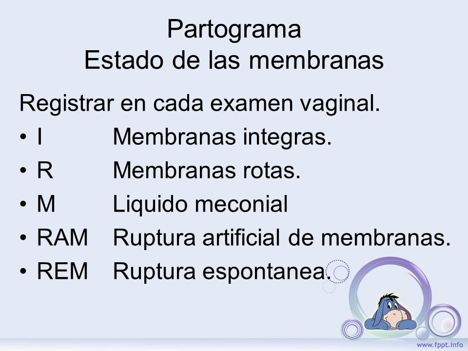 Partograma Estado de las membranas Registrar en cada examen vaginal. I Membranas integras. R Membranas rotas. M Liquido meconial RAM Ruptura artificia