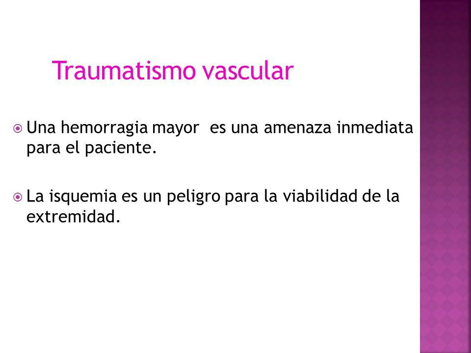 Una hemorragia mayor es una amenaza inmediata para el paciente. La isquemia es un peligro para la viabilidad de la extremidad. Traumatismo vascular