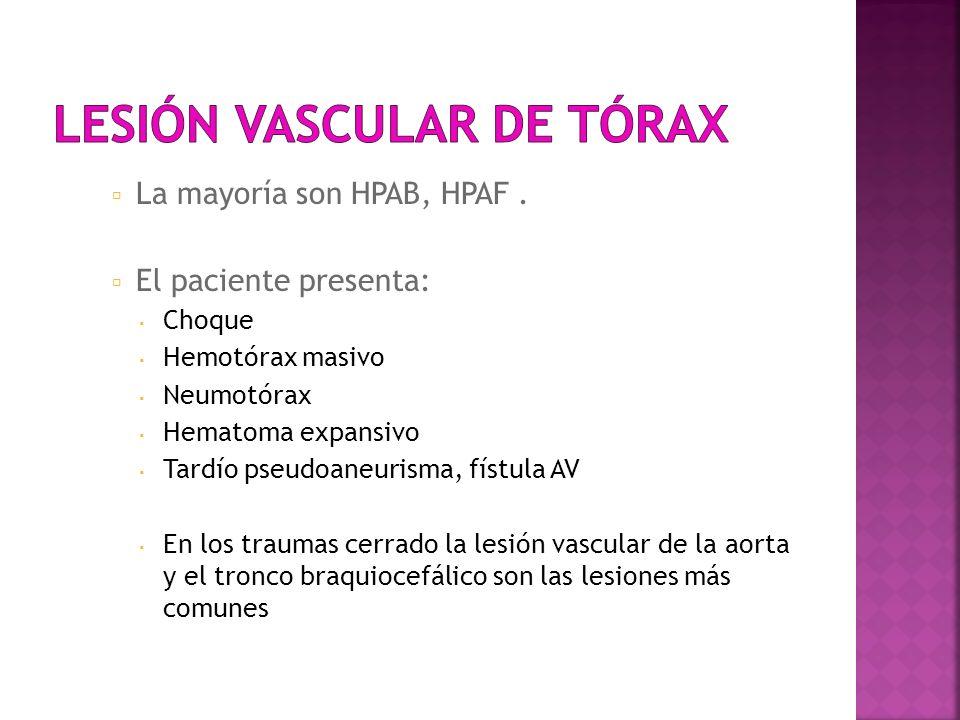 La mayoría son HPAB, HPAF. El paciente presenta: Choque Hemotórax masivo Neumotórax Hematoma expansivo Tardío pseudoaneurisma, fístula AV En los traum