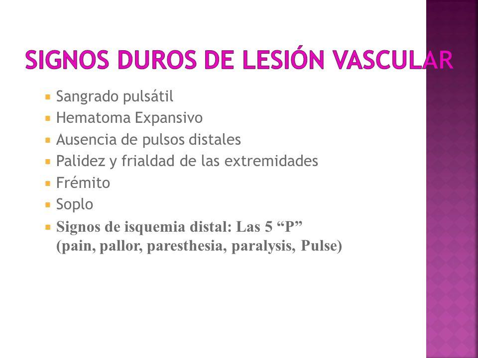 Sangrado pulsátil Hematoma Expansivo Ausencia de pulsos distales Palidez y frialdad de las extremidades Frémito Soplo Signos de isquemia distal: Las 5