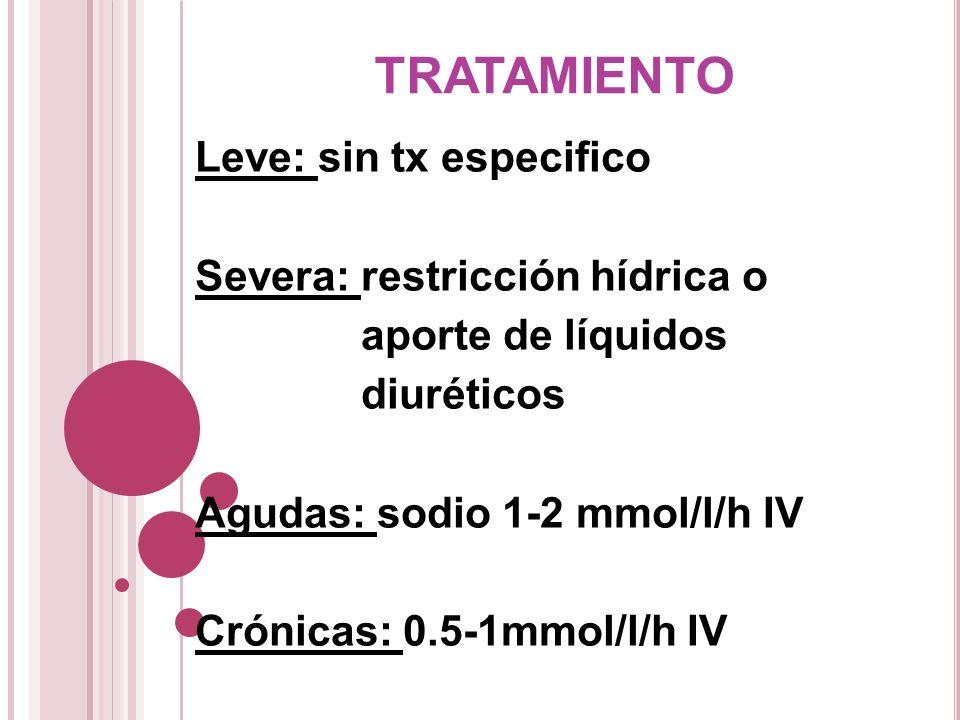 TRATAMIENTO Leve: sin tx especifico Severa: restricción hídrica o aporte de líquidos diuréticos Agudas: sodio 1-2 mmol/l/h IV Crónicas: 0.5-1mmol/l/h