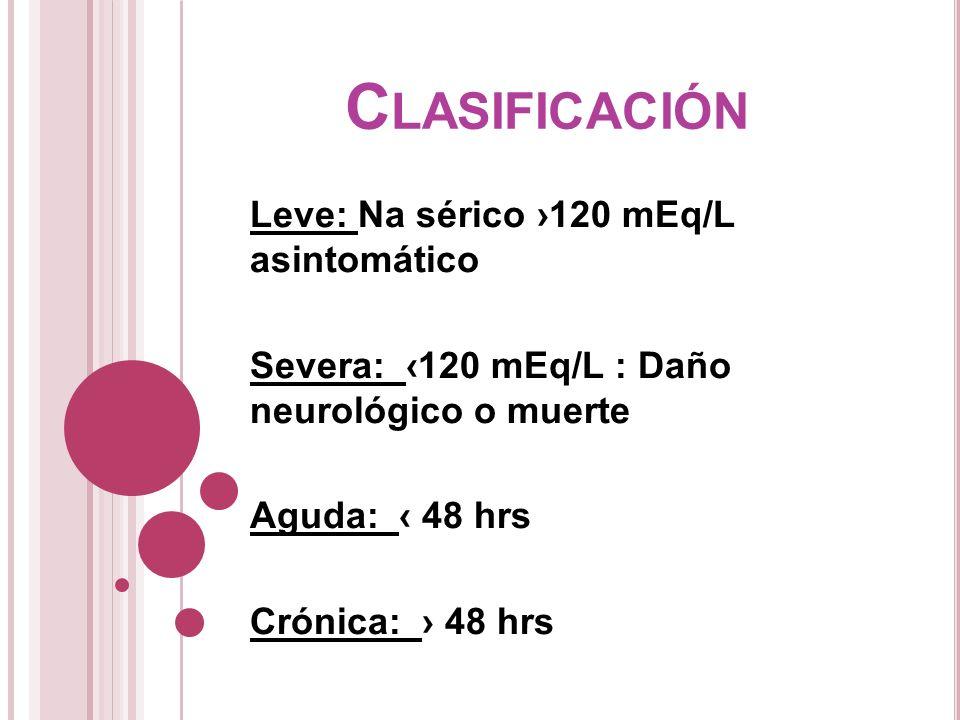 C LASIFICACIÓN Leve: Na sérico 120 mEq/L asintomático Severa: 120 mEq/L : Daño neurológico o muerte Aguda: 48 hrs Crónica: 48 hrs