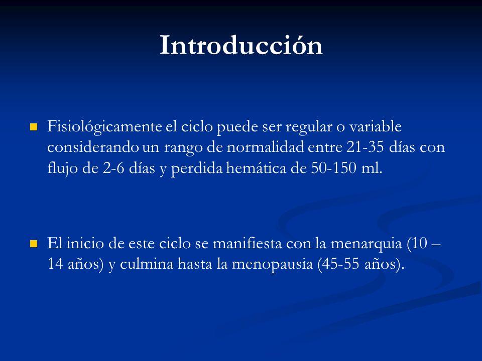 Fisiológicamente el ciclo puede ser regular o variable considerando un rango de normalidad entre 21-35 días con flujo de 2-6 días y perdida hemática d