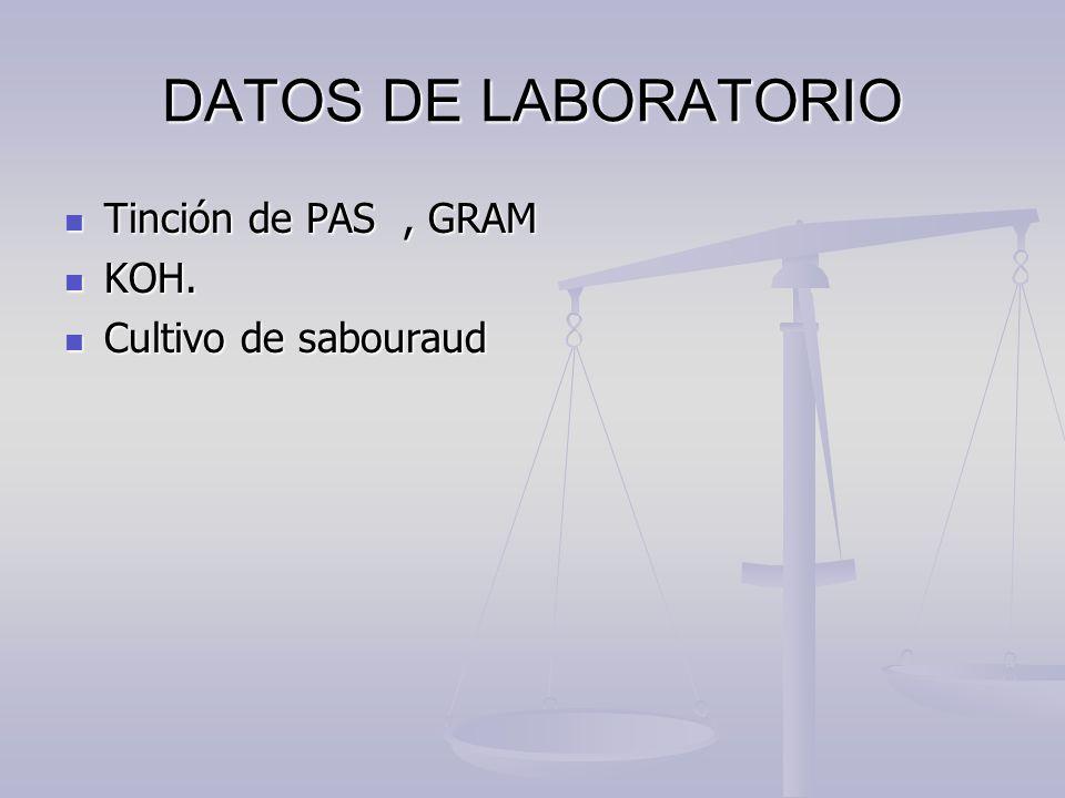 DATOS DE LABORATORIO Tinción de PAS, GRAM Tinción de PAS, GRAM KOH. KOH. Cultivo de sabouraud Cultivo de sabouraud