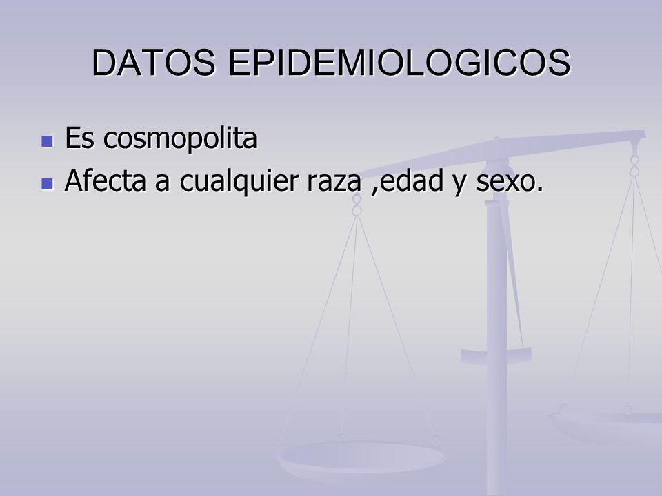 DATOS EPIDEMIOLOGICOS Es cosmopolita Es cosmopolita Afecta a cualquier raza,edad y sexo. Afecta a cualquier raza,edad y sexo.