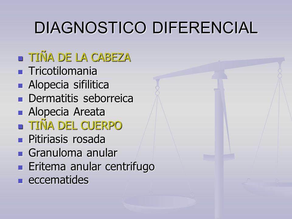 DIAGNOSTICO DIFERENCIAL TIÑA DE LA CABEZA TIÑA DE LA CABEZA Tricotilomania Tricotilomania Alopecia sifilitica Alopecia sifilitica Dermatitis seborreic