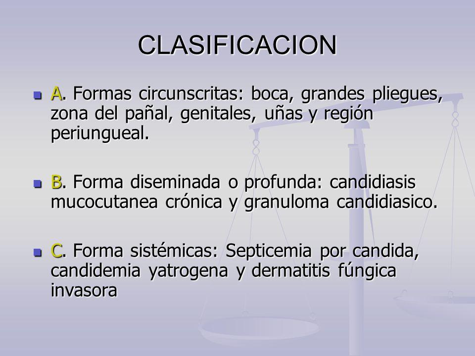 CLASIFICACION A. Formas circunscritas: boca, grandes pliegues, zona del pañal, genitales, uñas y región periungueal. A. Formas circunscritas: boca, gr