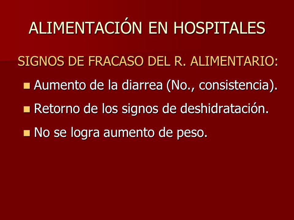 ALIMENTACIÓN EN HOSPITALES SIGNOS DE FRACASO DEL R. ALIMENTARIO: Aumento de la diarrea (No., consistencia). Aumento de la diarrea (No., consistencia).
