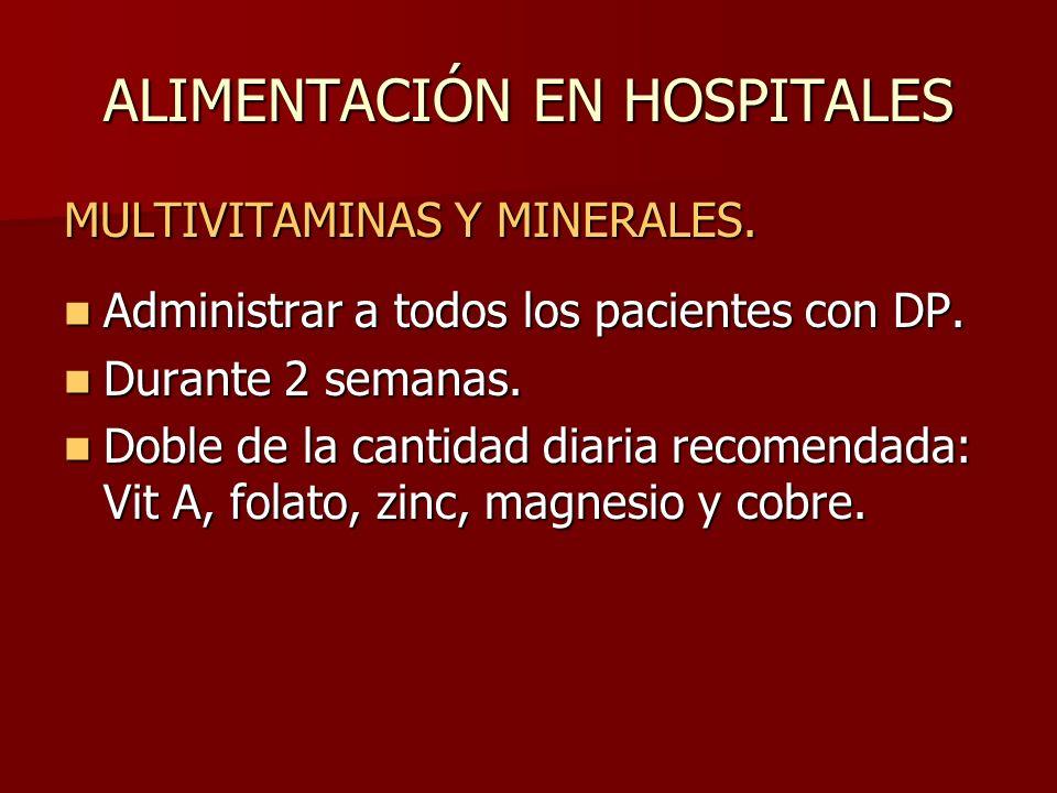 ALIMENTACIÓN EN HOSPITALES MULTIVITAMINAS Y MINERALES. Administrar a todos los pacientes con DP. Administrar a todos los pacientes con DP. Durante 2 s