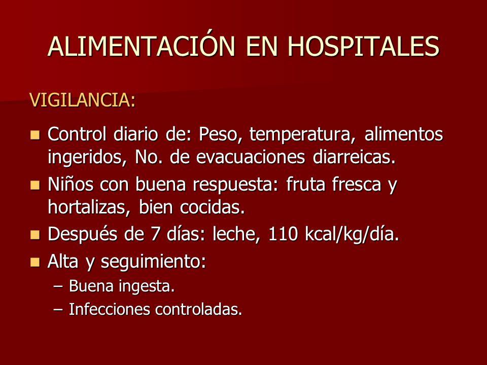 ALIMENTACIÓN EN HOSPITALES VIGILANCIA: Control diario de: Peso, temperatura, alimentos ingeridos, No. de evacuaciones diarreicas. Control diario de: P
