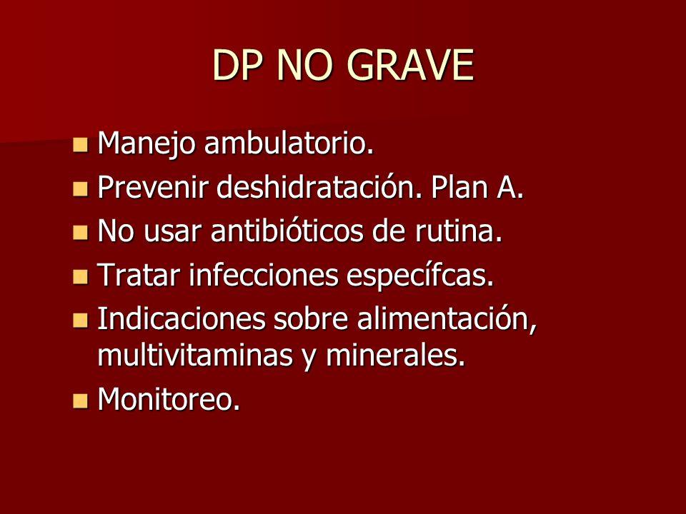 DP NO GRAVE Manejo ambulatorio. Manejo ambulatorio. Prevenir deshidratación. Plan A. Prevenir deshidratación. Plan A. No usar antibióticos de rutina.
