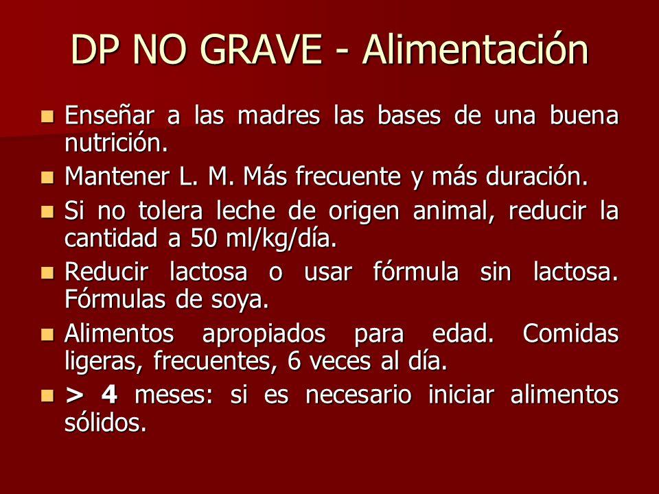 DP NO GRAVE - Alimentación Enseñar a las madres las bases de una buena nutrición. Enseñar a las madres las bases de una buena nutrición. Mantener L. M