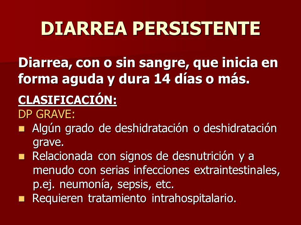 DIARREA PERSISTENTE Diarrea, con o sin sangre, que inicia en forma aguda y dura 14 días o más. CLASIFICACIÓN: DP GRAVE: Algún grado de deshidratación