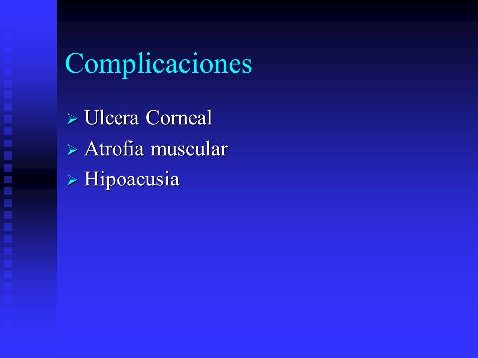 Complicaciones Ulcera Corneal Ulcera Corneal Atrofia muscular Atrofia muscular Hipoacusia Hipoacusia