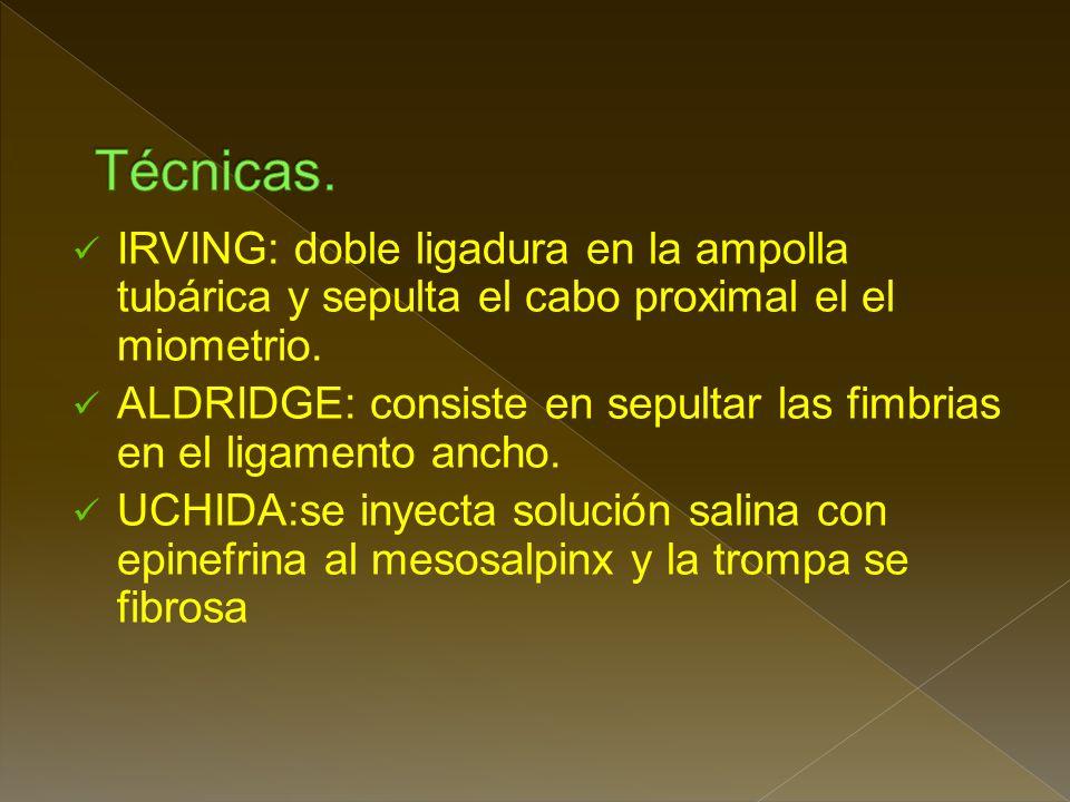 IRVING: doble ligadura en la ampolla tubárica y sepulta el cabo proximal el el miometrio.