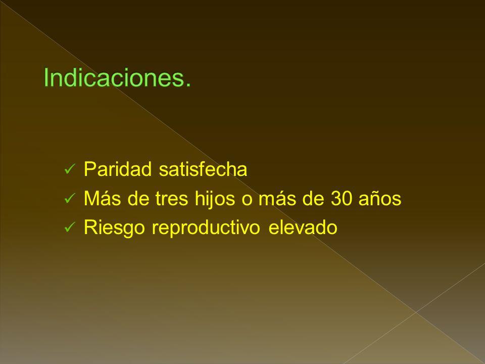 3. Obstrucción de trompas de falopio: Esterilización por Corriente Eléctrica Banda de Silicona(anillo tubario). Ligadura tubárica Clips oclusivos Diat