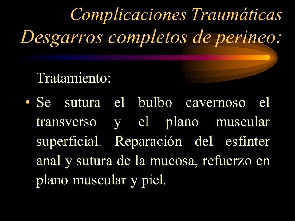 Complicaciones Traumáticas Desgarros completos de perineo: Tratamiento: Se sutura el bulbo cavernoso el transverso y el plano muscular superficial. Re