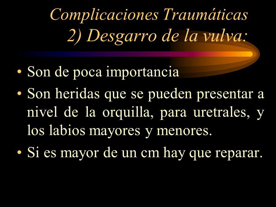 Complicaciones Traumáticas 2) Desgarro de la vulva: Son de poca importancia Son heridas que se pueden presentar a nivel de la orquilla, para uretrales
