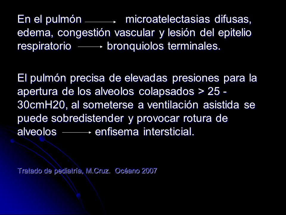 Manifestaciones clínicas: Actualmente el cuadro clinico es recortado debido a la administración precoz de surfactante y soporte ventilatorio.