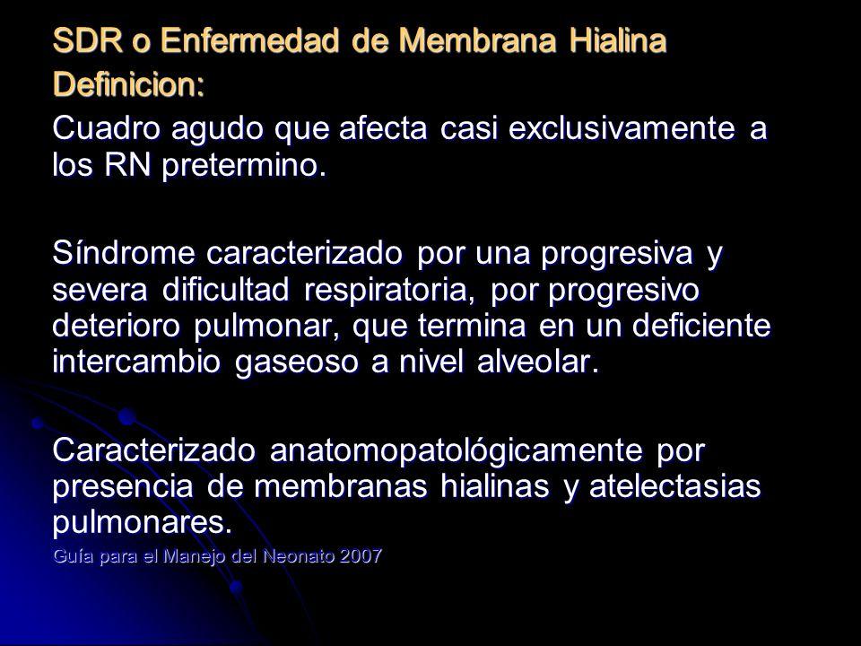 Epidemiologia Incidencia es inversa a EG: 60-80% en < 28 sem 60-80% en < 28 sem >50% en 50% en < 30 sem 15-20% en 32-36 sem 15-20% en 32-36 sem 37 semanas 37 semanas En nicaragua es la principal causa de insuficiencia respiratoria en los RN pretermino.