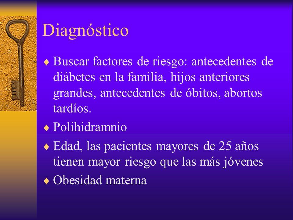 Diagnóstico Buscar factores de riesgo: antecedentes de diábetes en la familia, hijos anteriores grandes, antecedentes de óbitos, abortos tardíos. Poli
