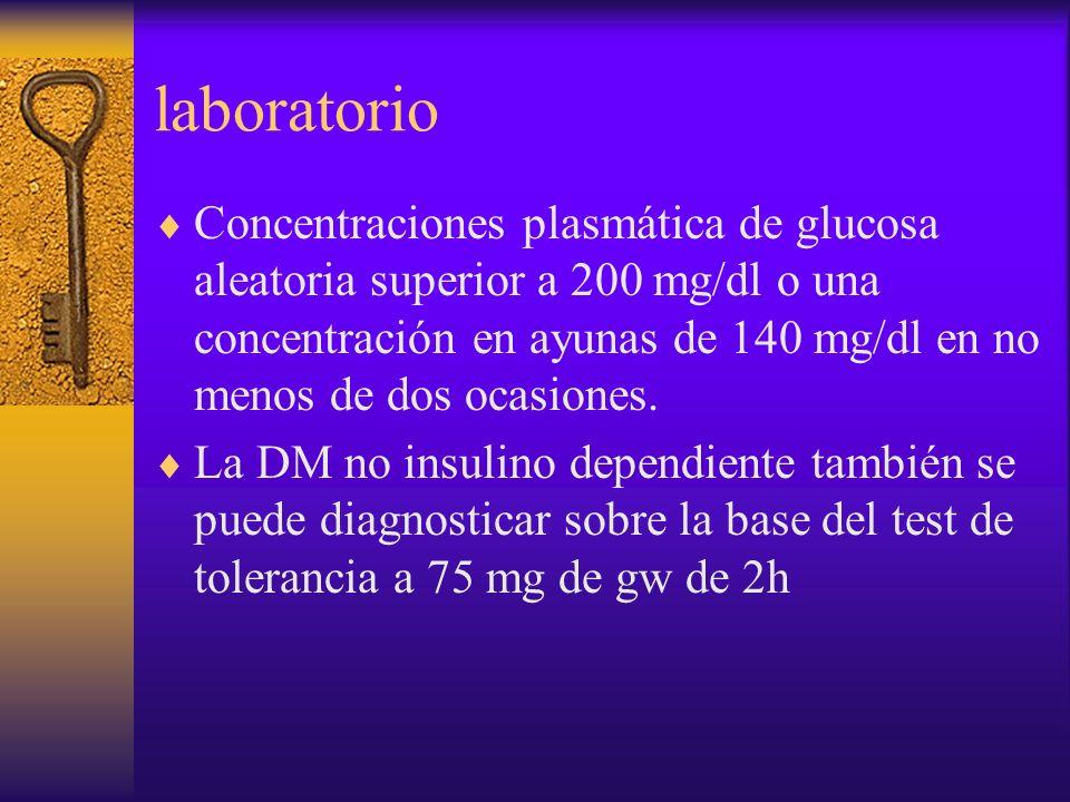 laboratorio Concentraciones plasmática de glucosa aleatoria superior a 200 mg/dl o una concentración en ayunas de 140 mg/dl en no menos de dos ocasion