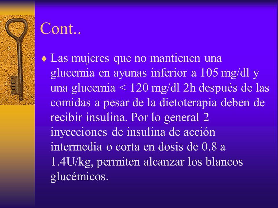 Cont.. Las mujeres que no mantienen una glucemia en ayunas inferior a 105 mg/dl y una glucemia < 120 mg/dl 2h después de las comidas a pesar de la die
