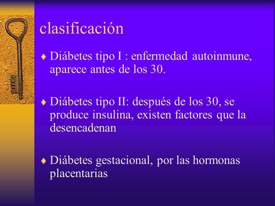 clasificación Diábetes tipo I : enfermedad autoinmune, aparece antes de los 30. Diábetes tipo II: después de los 30, se produce insulina, existen fact