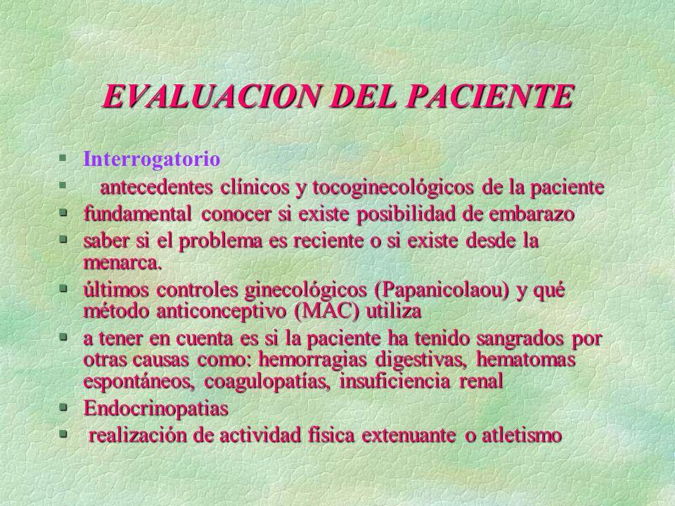 EVALUACION DEL PACIENTE §Interrogatorio antecedentes clínicos y tocoginecológicos de la paciente § antecedentes clínicos y tocoginecológicos de la pac