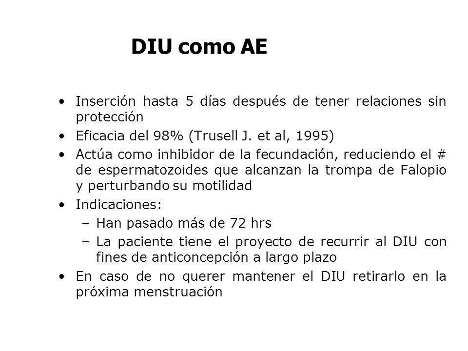 DIU como AE Inserción hasta 5 días después de tener relaciones sin protección Eficacia del 98% (Trusell J. et al, 1995) Actúa como inhibidor de la fec