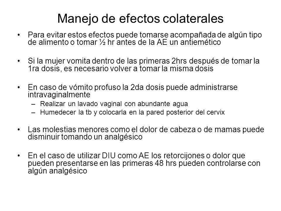 Manejo de efectos colaterales Para evitar estos efectos puede tomarse acompañada de algún tipo de alimento o tomar ½ hr antes de la AE un antiemético