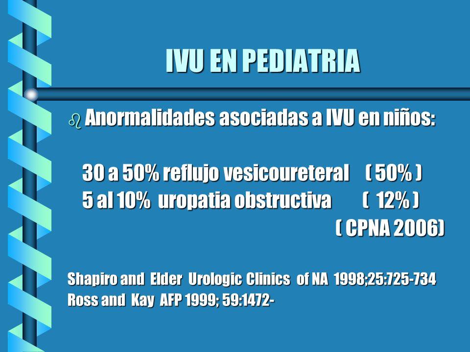 IVU EN PEDIATRIA b Anormalidades asociadas a IVU en niños: 30 a 50% reflujo vesicoureteral ( 50% ) 30 a 50% reflujo vesicoureteral ( 50% ) 5 al 10% ur