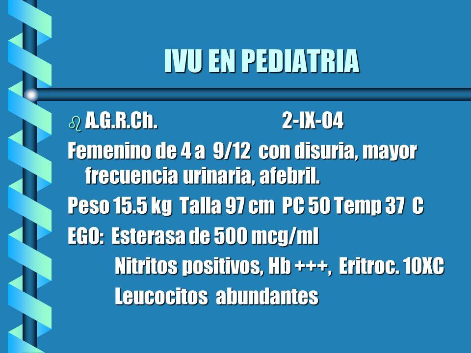IVU EN PEDIATRIA IVU EN PEDIATRIA b A.G.R.Ch. 2-IX-04 Femenino de 4 a 9/12 con disuria, mayor frecuencia urinaria, afebril. Peso 15.5 kg Talla 97 cm P