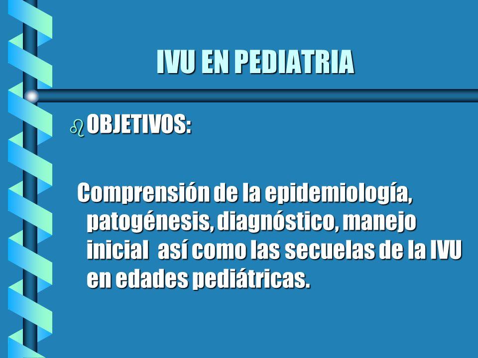 IVU EN PEDIATRIA b Anormalidades asociadas a IVU en niños: 30 a 50% reflujo vesicoureteral ( 50% ) 30 a 50% reflujo vesicoureteral ( 50% ) 5 al 10% uropatia obstructiva ( 12% ) 5 al 10% uropatia obstructiva ( 12% ) ( CPNA 2006) ( CPNA 2006) Shapiro and Elder Urologic Clinics of NA 1998;25:725-734 Ross and Kay AFP 1999; 59:1472-