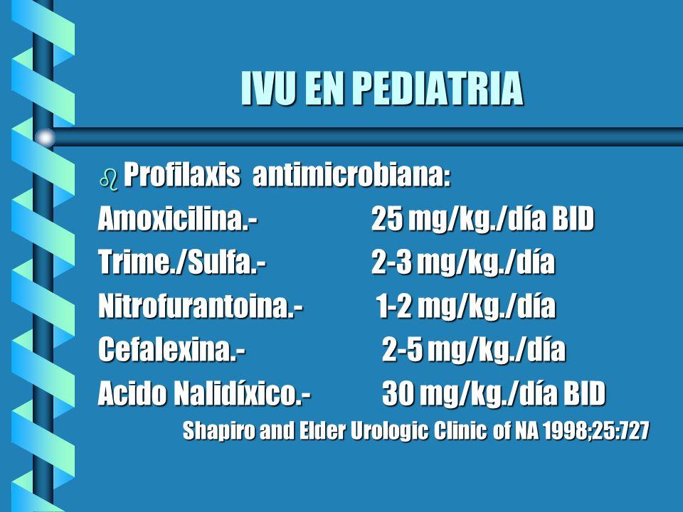 IVU EN PEDIATRIA b Profilaxis antimicrobiana: Amoxicilina.- 25 mg/kg./día BID Trime./Sulfa.- 2-3 mg/kg./día Nitrofurantoina.- 1-2 mg/kg./día Cefalexin