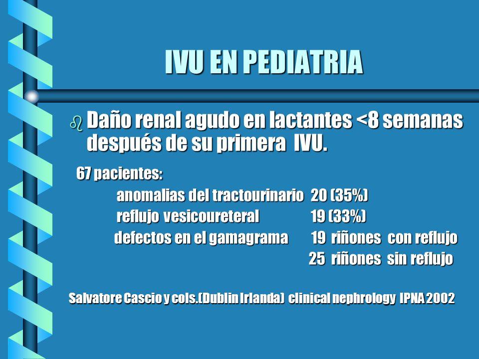 IVU EN PEDIATRIA b Daño renal agudo en lactantes <8 semanas después de su primera IVU. 67 pacientes: 67 pacientes: anomalias del tractourinario 20 (35