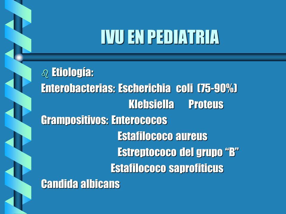IVU EN PEDIATRIA b Etiología: Enterobacterias: Escherichia coli (75-90%) Klebsiella Proteus Klebsiella Proteus Grampositivos: Enterococos Estafilococo