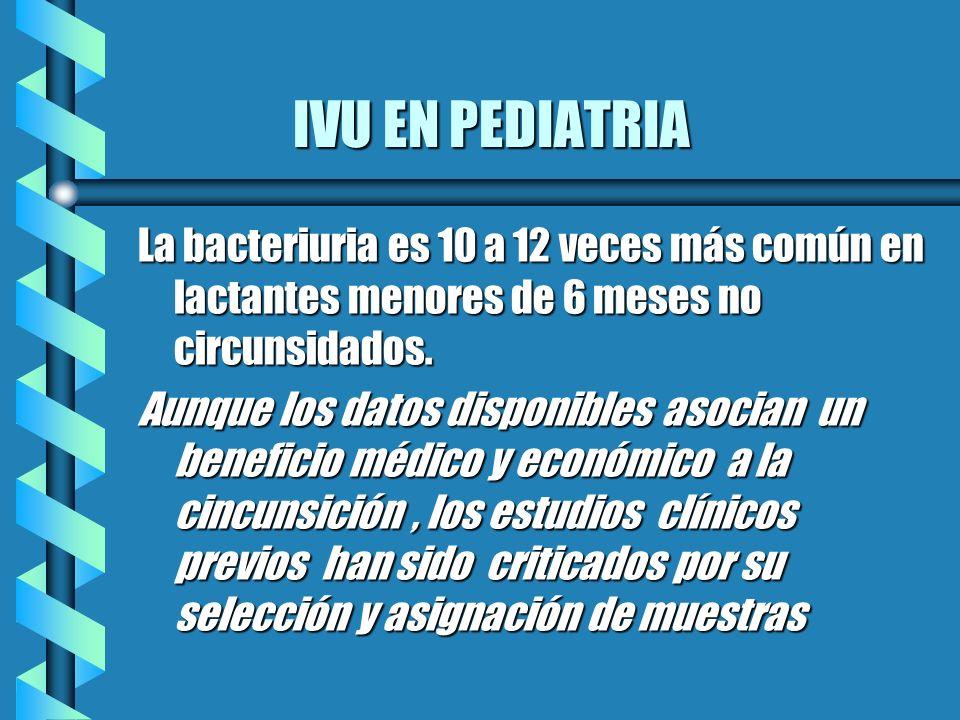 IVU EN PEDIATRIA IVU EN PEDIATRIA La bacteriuria es 10 a 12 veces más común en lactantes menores de 6 meses no circunsidados. Aunque los datos disponi