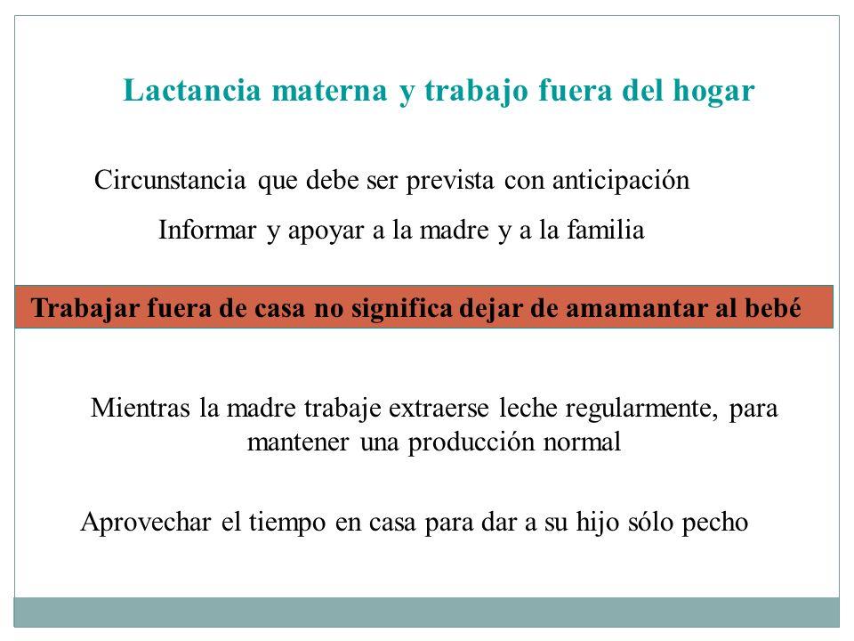 Lactancia materna y trabajo fuera del hogar Circunstancia que debe ser prevista con anticipación Informar y apoyar a la madre y a la familia Trabajar