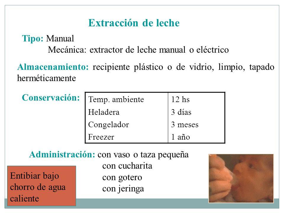 Extracción de leche Tipo: Manual Mecánica: extractor de leche manual o eléctrico Almacenamiento: recipiente plástico o de vidrio, limpio, tapado hermé