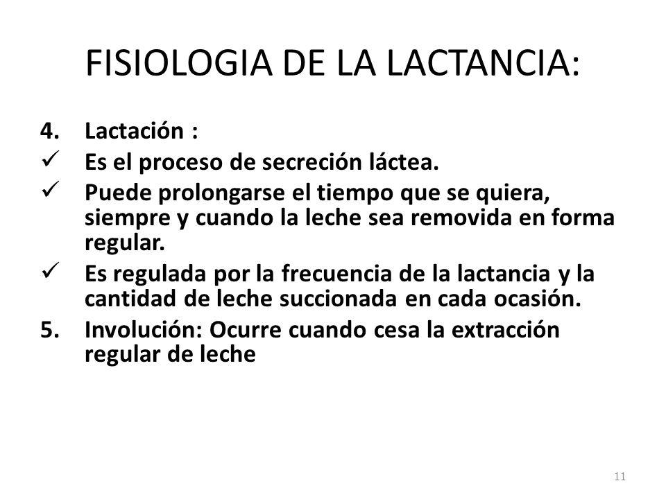 FISIOLOGIA DE LA LACTANCIA: 4.Lactación : Es el proceso de secreción láctea. Puede prolongarse el tiempo que se quiera, siempre y cuando la leche sea