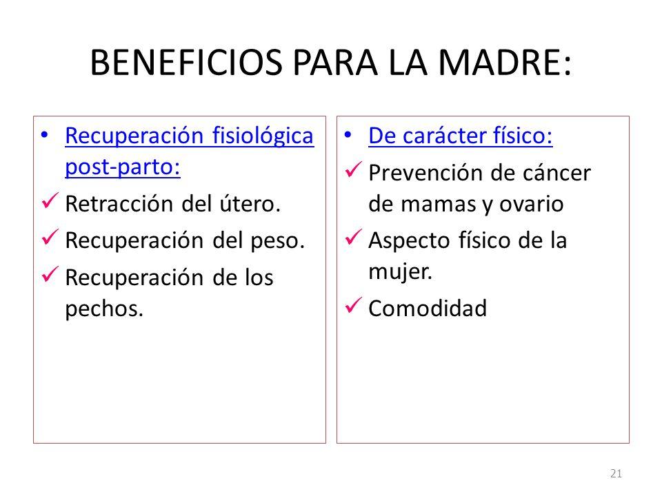 BENEFICIOS PARA LA MADRE: Recuperación fisiológica post-parto: Retracción del útero. Recuperación del peso. Recuperación de los pechos. De carácter fí