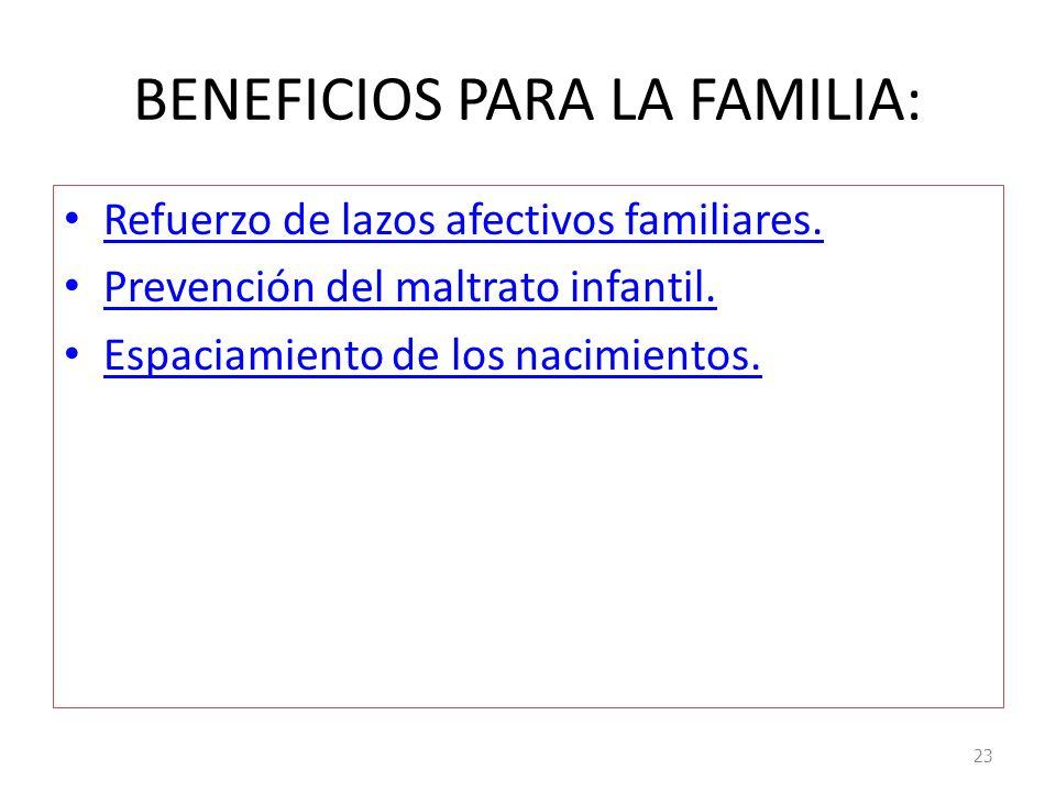 BENEFICIOS PARA LA FAMILIA: Refuerzo de lazos afectivos familiares. Prevención del maltrato infantil. Espaciamiento de los nacimientos. 23