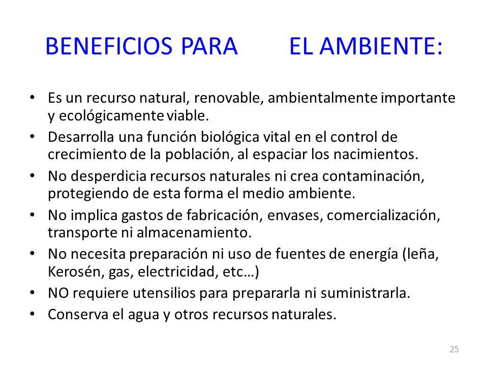 BENEFICIOS PARA EL AMBIENTE: Es un recurso natural, renovable, ambientalmente importante y ecológicamente viable. Desarrolla una función biológica vit