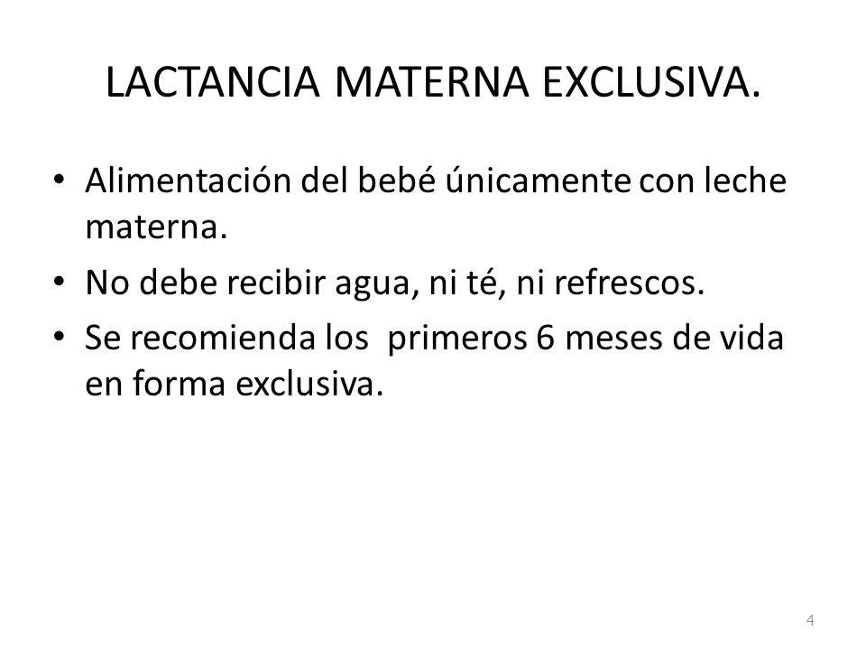 LACTANCIA MATERNA EXCLUSIVA. Alimentación del bebé únicamente con leche materna. No debe recibir agua, ni té, ni refrescos. Se recomienda los primeros