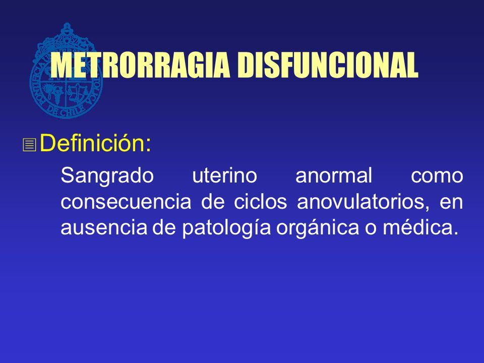 METRORRAGIA DISFUNCIONAL Etiologías clínicas asociadas: Sindrome de ovarios poliquísticos Obesidad Inmadurez de eje (postpuberal) Perimenopausia Alteraciones endocrinas (tiroides, prolactina)