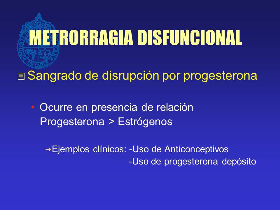 METRORRAGIA DISFUNCIONAL Sangrado de disrupción por progesterona Ocurre en presencia de relación Progesterona > Estrógenos Ejemplos clínicos: -Uso de