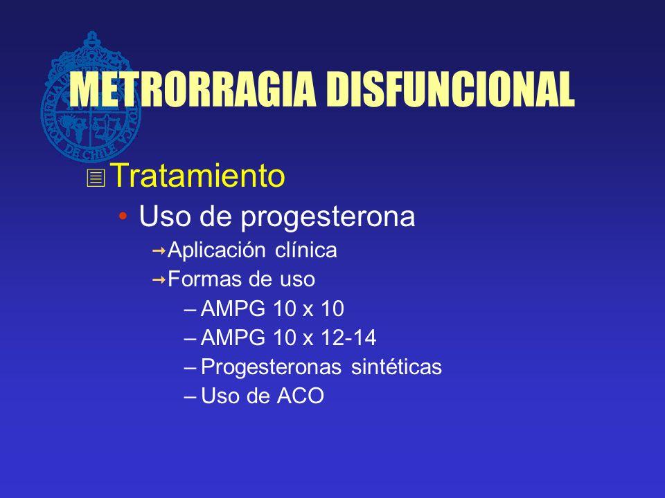 METRORRAGIA DISFUNCIONAL Tratamiento Uso de progesterona Aplicación clínica Formas de uso –AMPG 10 x 10 –AMPG 10 x 12-14 –Progesteronas sintéticas –Us